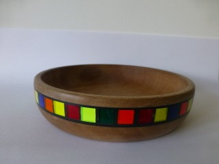 Lacewood with coloured plastic set in black milliput