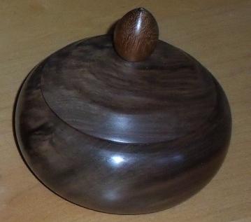 Black Walnut lidded bowl from axminster stock