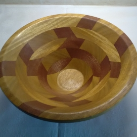 """11 1/2"""" dia micro crystalline wax finish layers turned 90 degrees to each other"""